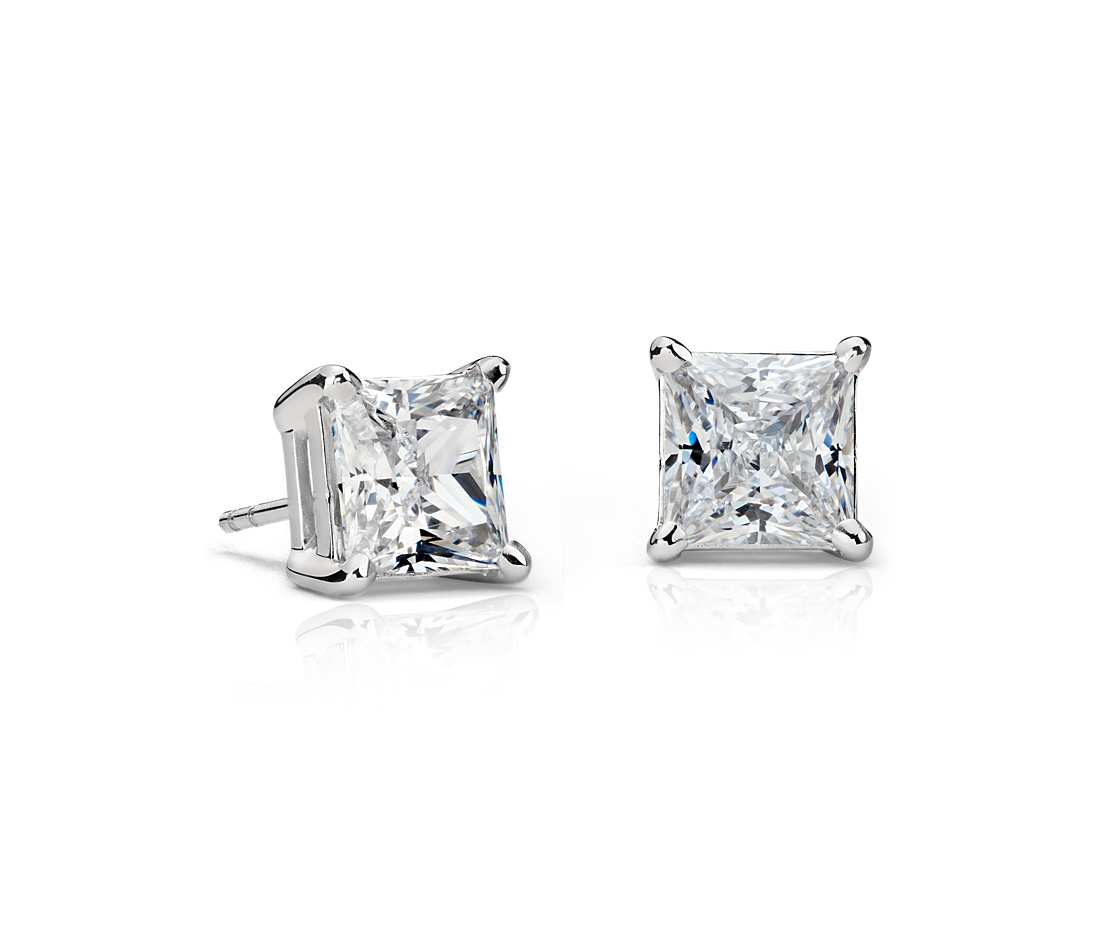 rg cut prong products diamond princess earrings eagle fine setting gold stud studs diamonds four